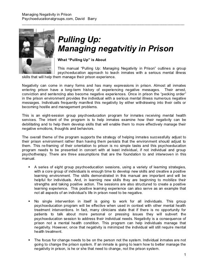 Managing Negativity in PrisonPsychoeducationalgroups.com, David Barry_____________________________________________________...