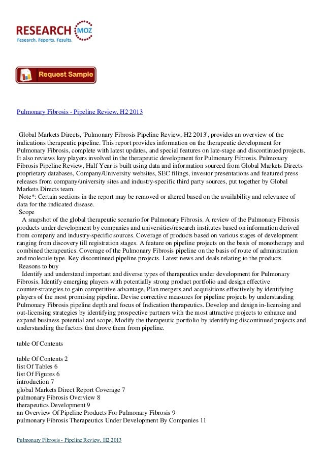 Pulmonary Fibrosis - Pipeline Review, H2 2013:Industry Analysis Report