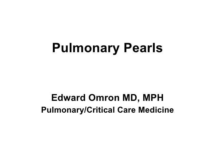 Pulmonary Pearls