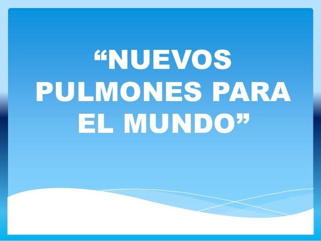 """""""NUEVOS PULMONES PARA EL MUNDO"""""""