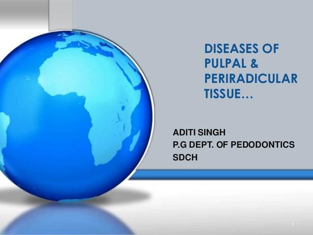 DISEASES OF PULPAL & PERIRADICULAR TISSUE… 1 ADITI SINGH P.G DEPT. OF PEDODONTICS SDCH