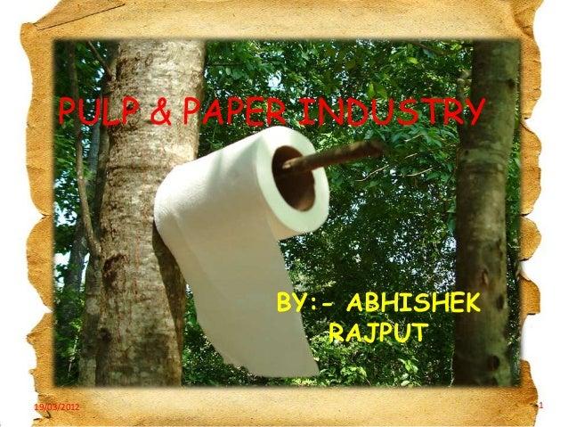 PULP & PAPER INDUSTRY  BY:- ABHISHEK RAJPUT 19/03/2012  1