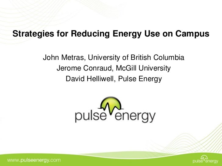 Pulse Energy Webinar - Strategies for Reducing Energy Use on Campus
