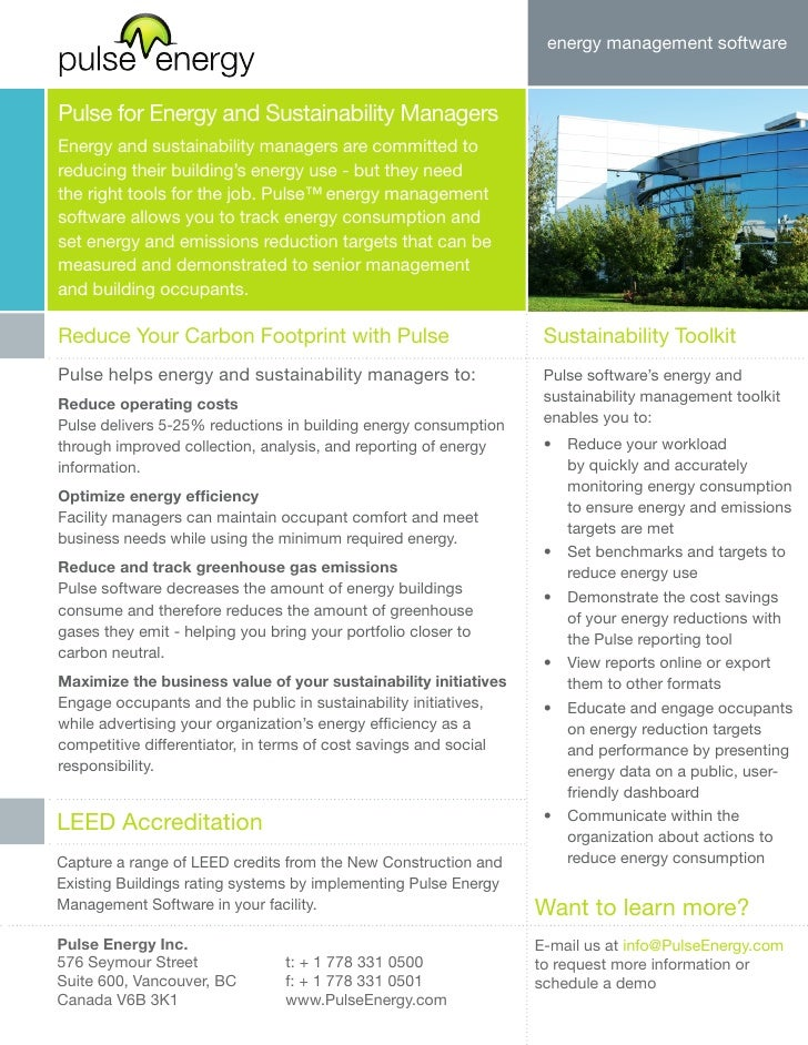 energy management software   Pulse for Energy and Sustainability Managers Energy and sustainability managers are committed...