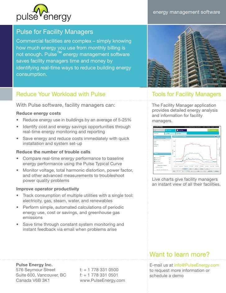 energy management software   Pulse for Facility Managers Commercial facilities are complex – simply knowing how much energ...