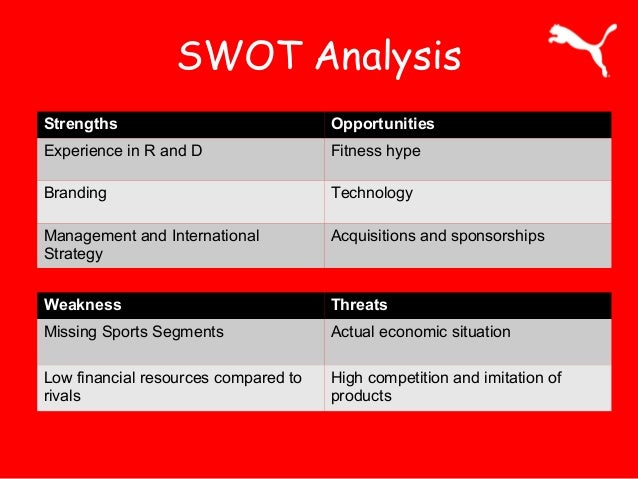 puma swot analysis essay Puma biotechnology inc (pbyi) - financial and strategic swot analysis review puma biotechnology inc (pbyi) - financial and strategic swot analysis review - - market research report and industry analysis - 11173984.