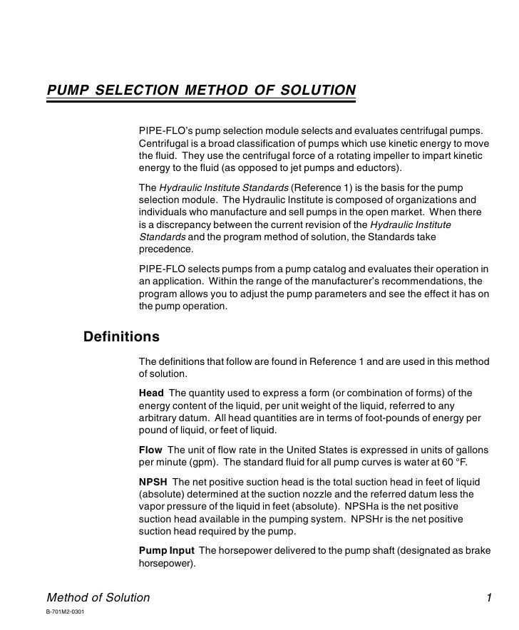 PIPE-FLO Professional    PUMP SELECTION METHOD OF SOLUTION                    PIPE-FLO's pump selection module selects and...