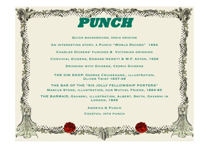 PUNCH STORIES & DRINKING WITH DICKENS
