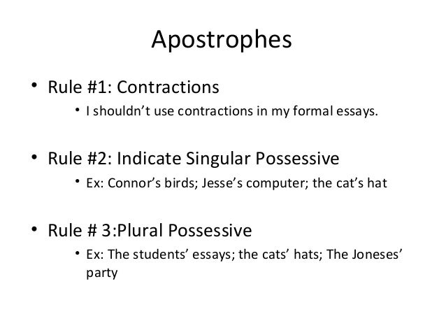 Personal Essays-contraction use rule?