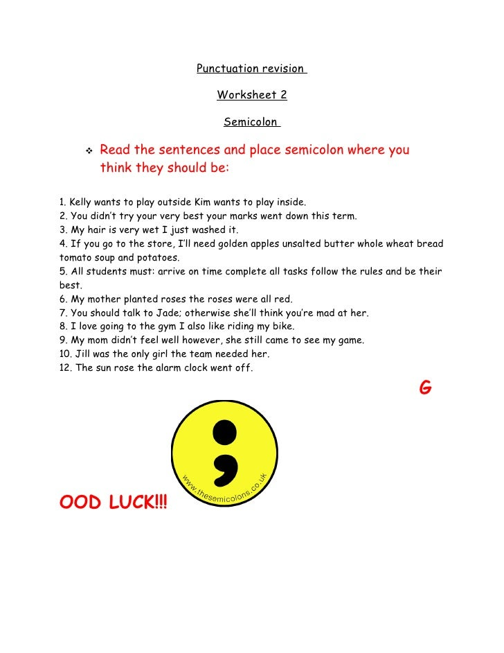 Punctuation Revision,Semicolon Worksheet2