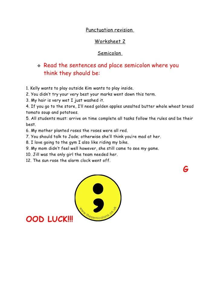 Punctuation Revision,Semicolon Worksheet2