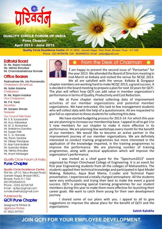 Pune chapter parivartan april to june 13