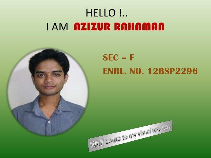 HELLO !..I AM AZIZUR RAHAMAN         SEC – F         ENRL. NO. 12BSP2296