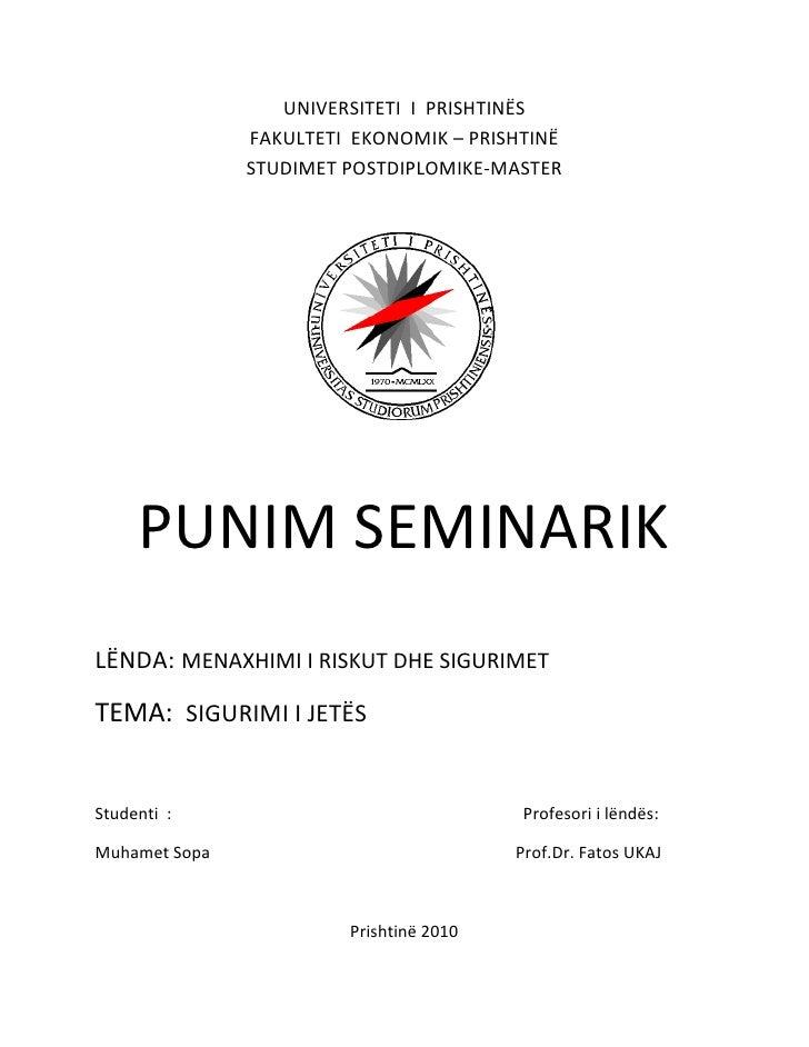 Punim seminarik menaxhimi i rrezikut dhe sigurimet