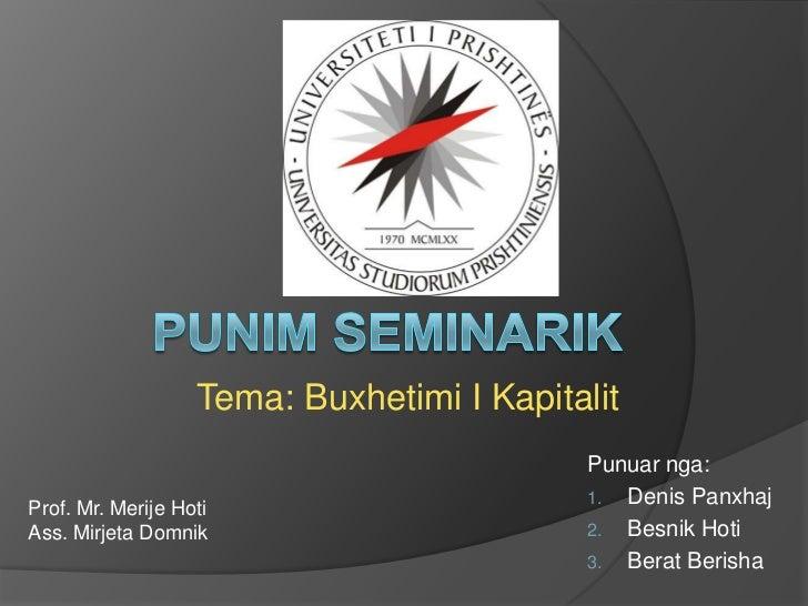 Punim seminarik në menaxhment financiar