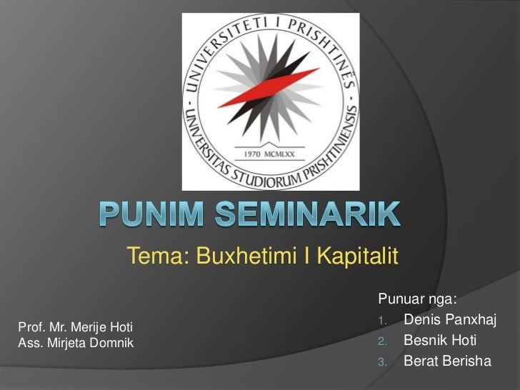 Punim seminarik në menaxhment financiar