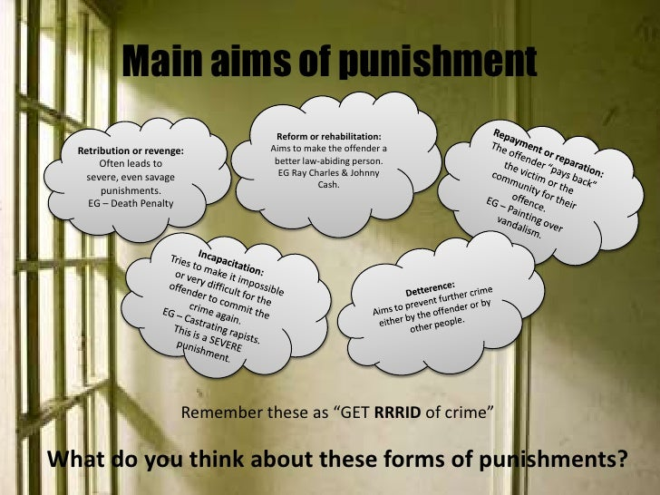 punishment versus rehabilitation Should the main purpose of prison be to punish or to rehabilitate the offender in modern societies, prisons are more important than they have ever been throughout.