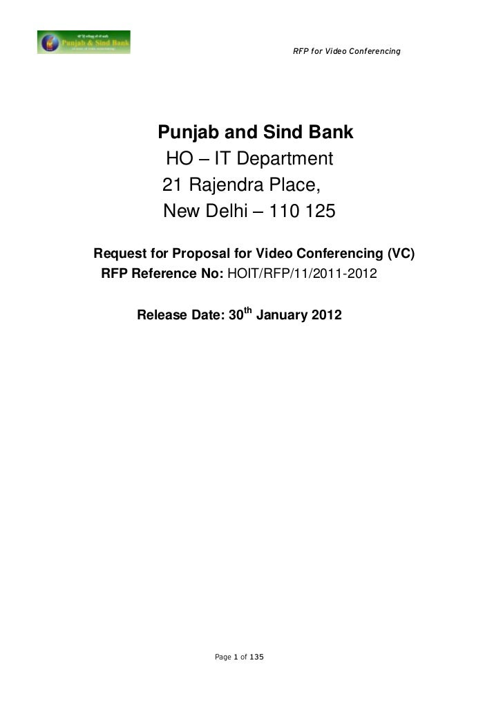 RFP for Video Conferencing         Punjab and Sind Bank          HO – IT Department         21 Rajendra Place,         New...