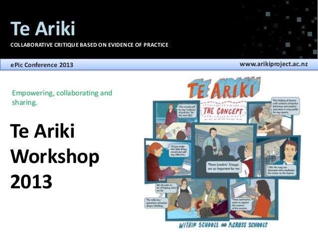 Te Ariki COLLABORATIVE CRITIQUE BASED ON EVIDENCE OF PRACTICE  ePic Conference 2013  Empowering, collaborating and sharing...