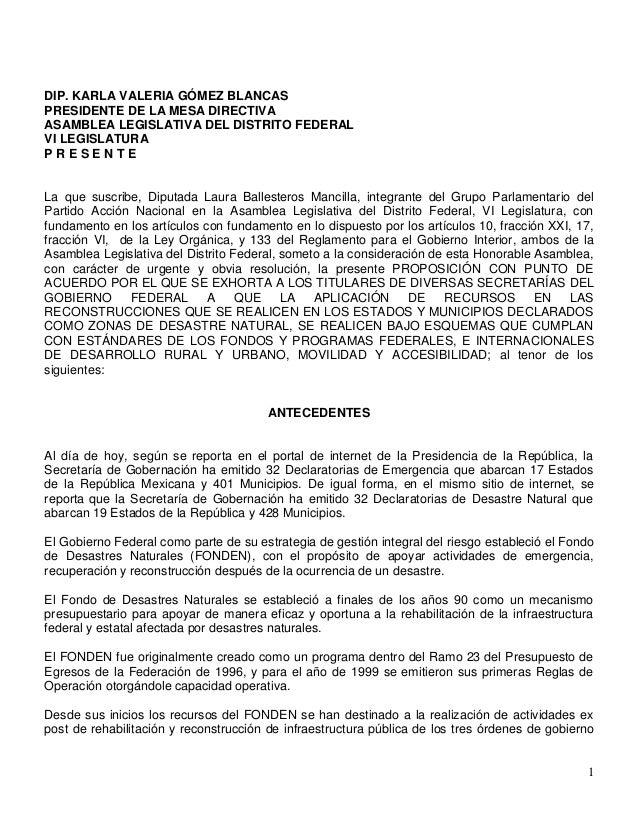 DIP. KARLA VALERIA GÓMEZ BLANCAS PRESIDENTE DE LA MESA DIRECTIVA ASAMBLEA LEGISLATIVA DEL DISTRITO FEDERAL VI LEGISLATURA ...