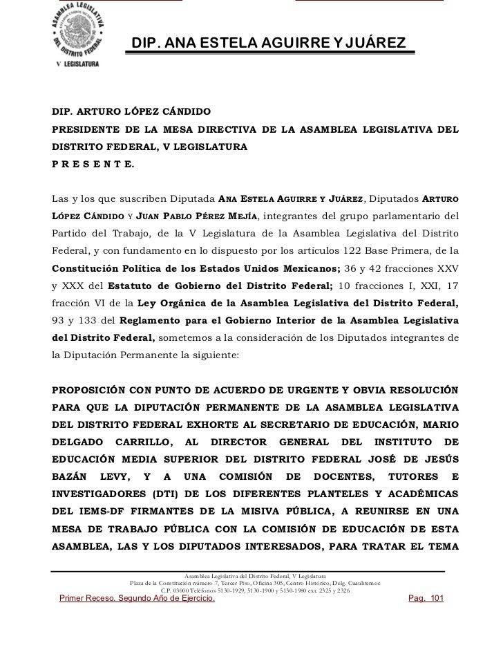 DIP. ANA ESTELA AGUIRRE Y JUÁREZDIP. ARTURO LÓPEZ CÁNDIDOPRESIDENTE DE LA MESA DIRECTIVA DE LA ASAMBLEA LEGISLATIVA DELDIS...