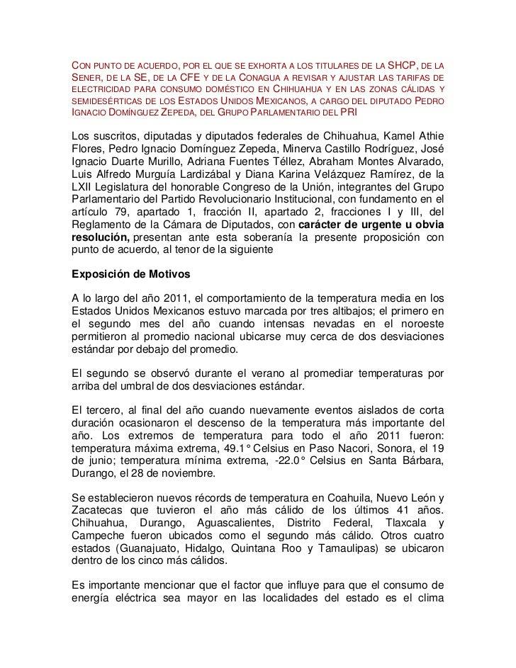 CON PUNTO DE ACUERDO, POR EL QUE SE EXHORTA A LOS TITULARES DE LA SHCP, DE LASENER, DE LA SE, DE LA CFE Y DE LA CONAGUA A ...