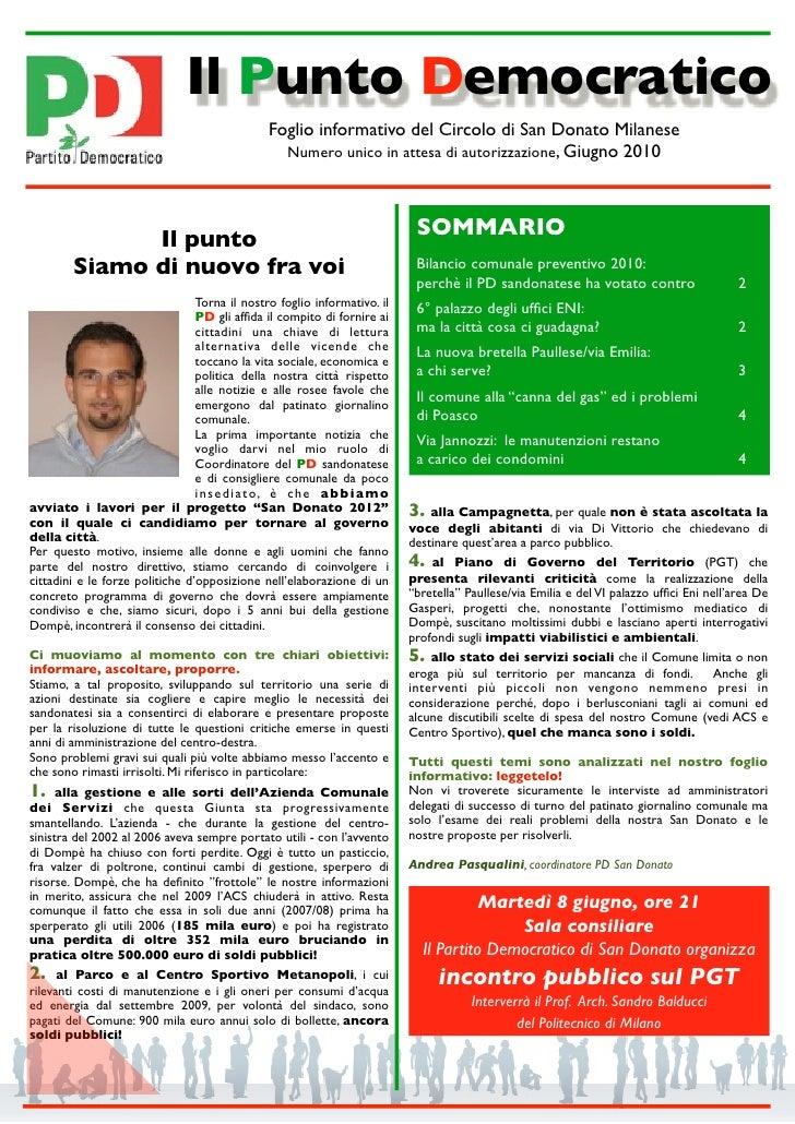 Il Punto Democratico                                                 Foglio informativo del Circolo di San Donato Milanese...