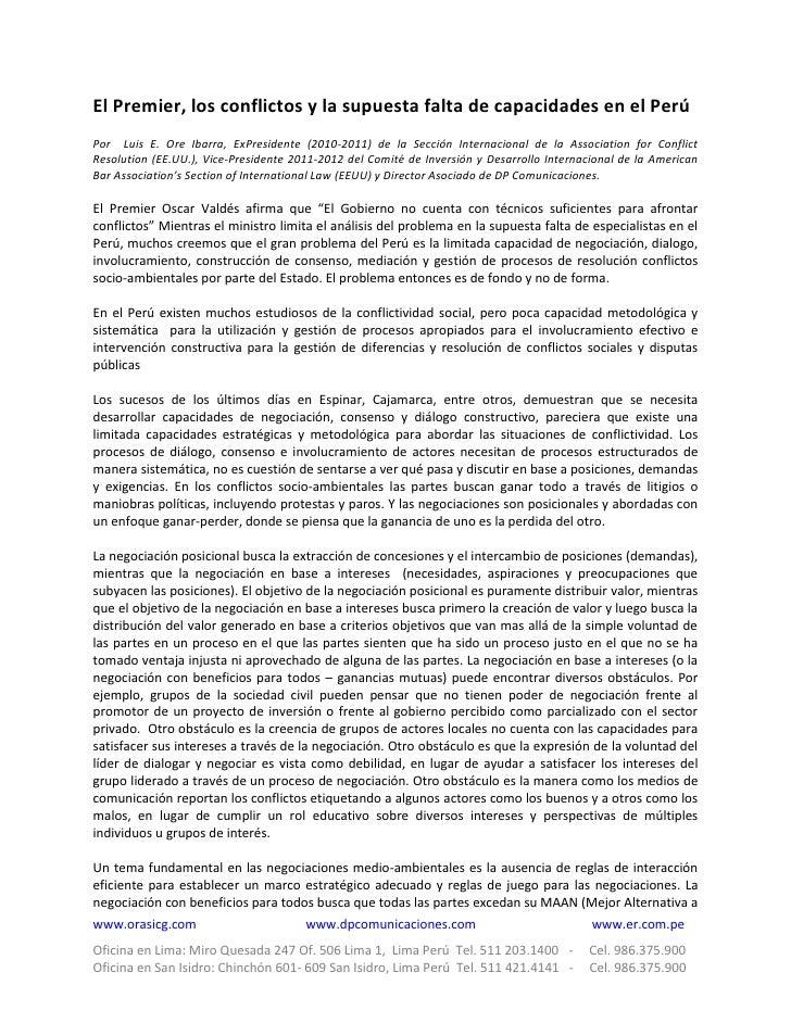 El Premier, los conflictos y la supuesta falta de capacidades en el PerúPor Luis E. Ore Ibarra, ExPresidente (2010-2011) d...