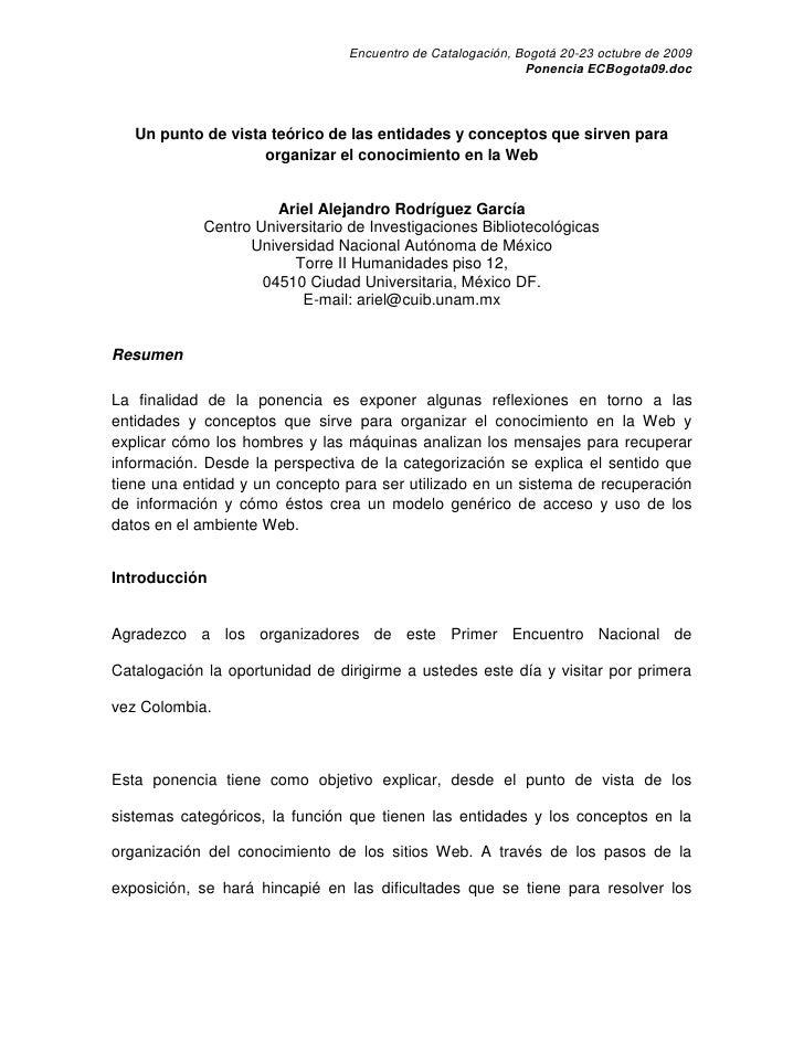 Encuentro de Catalogación, Bogotá 20-23 octubre de 2009                                                              Ponen...