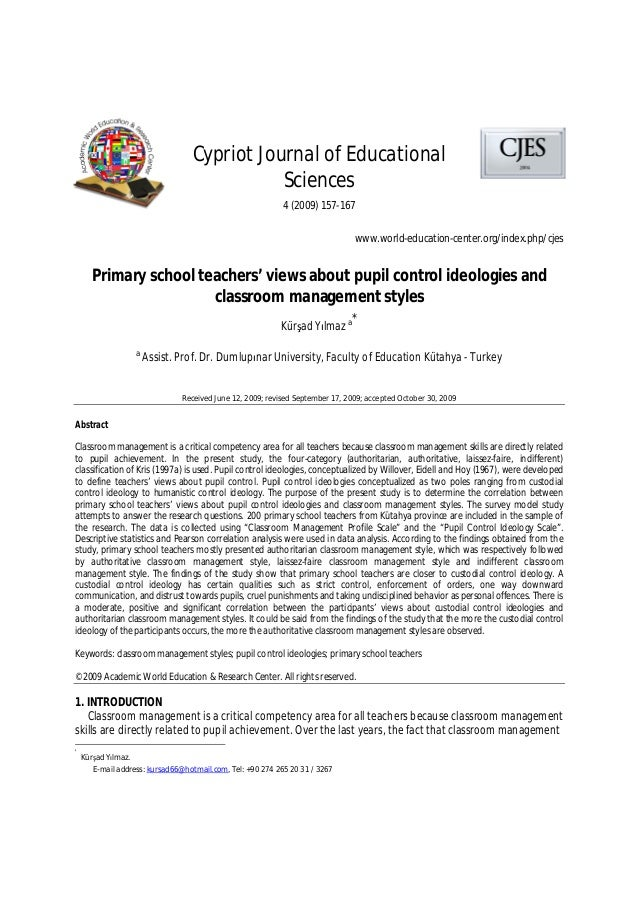 Primary school teachers' views about pupil control ideologies and classroom management styles