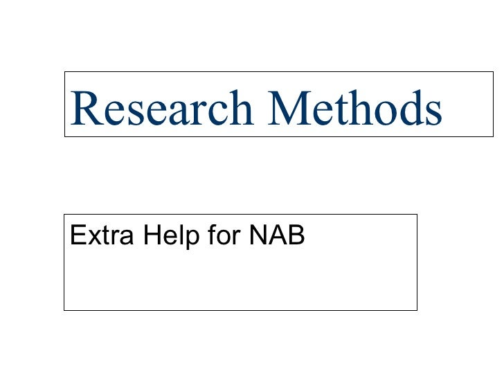 Research Methods Extra Help for NAB