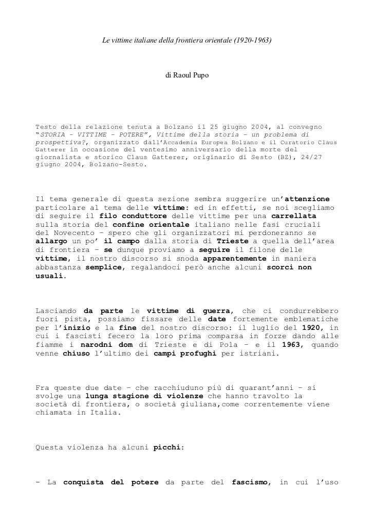 Le vittime italiane della frontiera orientale (1920-1963)                                     di Raoul PupoTesto della rel...