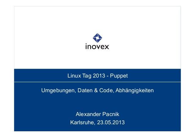 Linux Tag 2013 - PuppetUmgebungen, Daten & Code, AbhängigkeitenAlexander PacnikKarlsruhe, 23.05.2013