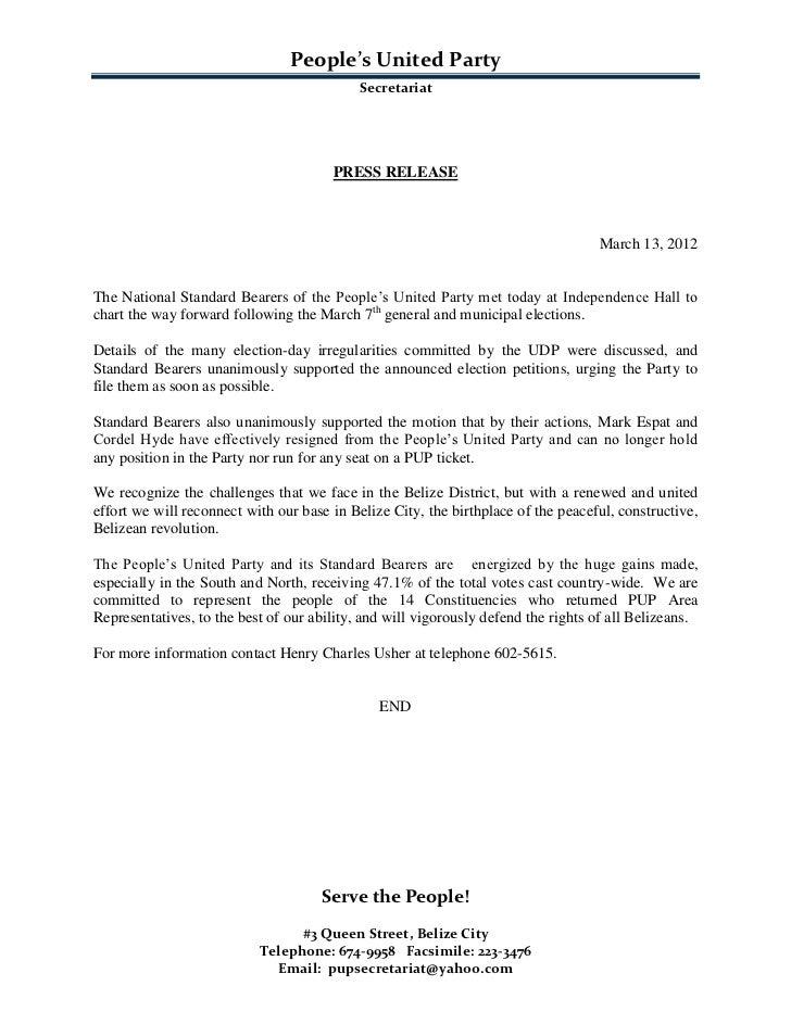 People's United Party                                           Secretariat                                       PRESS RE...