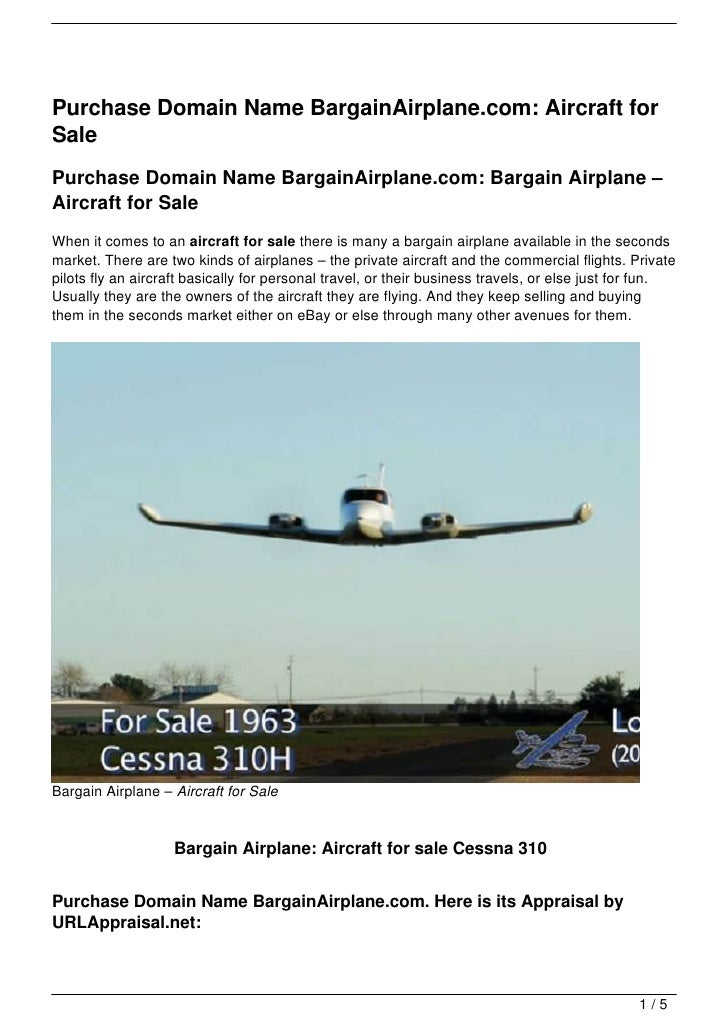 Purchase Domain Name BargainAirplane.com: Aircraft for Sale