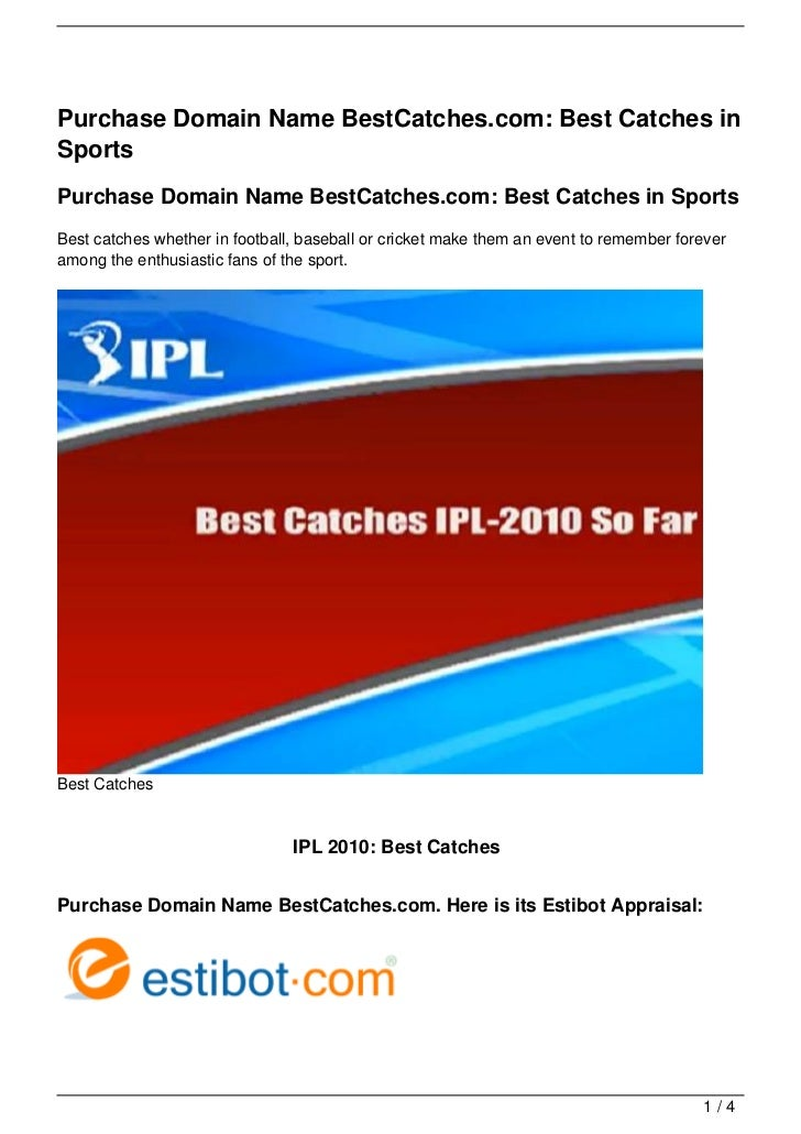 Purchase Domain Name BestCatches.com: Best Catches in Sports