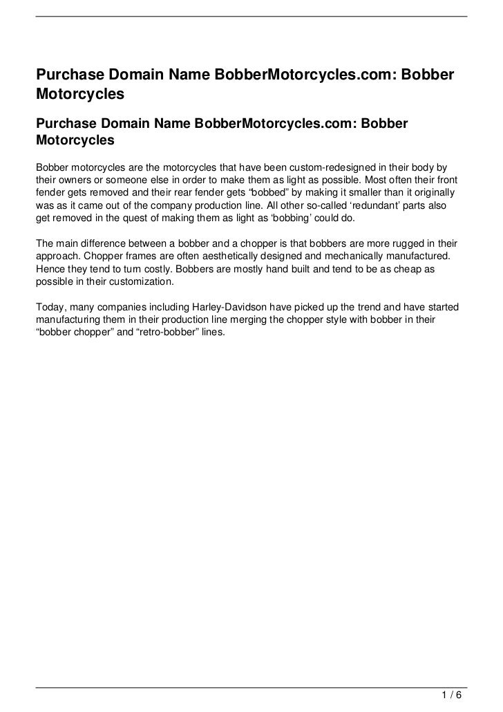 Purchase Domain Name BobberMotorcycles.com: Bobber Motorcycles