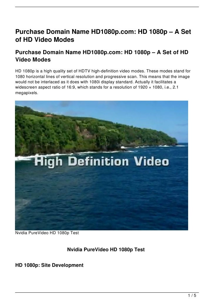 Purchase Domain Name HD1080p.com: HD 1080p – A Set of HD Video Modes