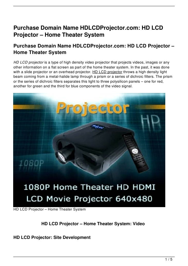 Purchase Domain Name HDLCDProjector.com: HD LCDProjector – Home Theater SystemPurchase Domain Name HDLCDProjector.com: HD ...