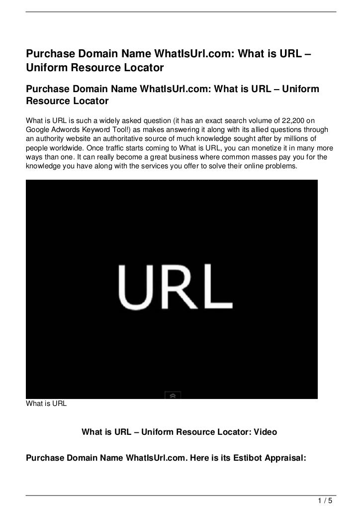 Purchase Domain Name WhatIsUrl.com: What is URL – Uniform Resource Locator