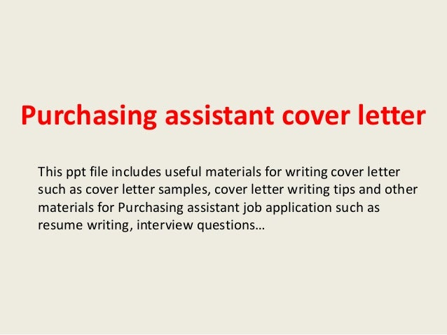 Cover letter for purchase assistant