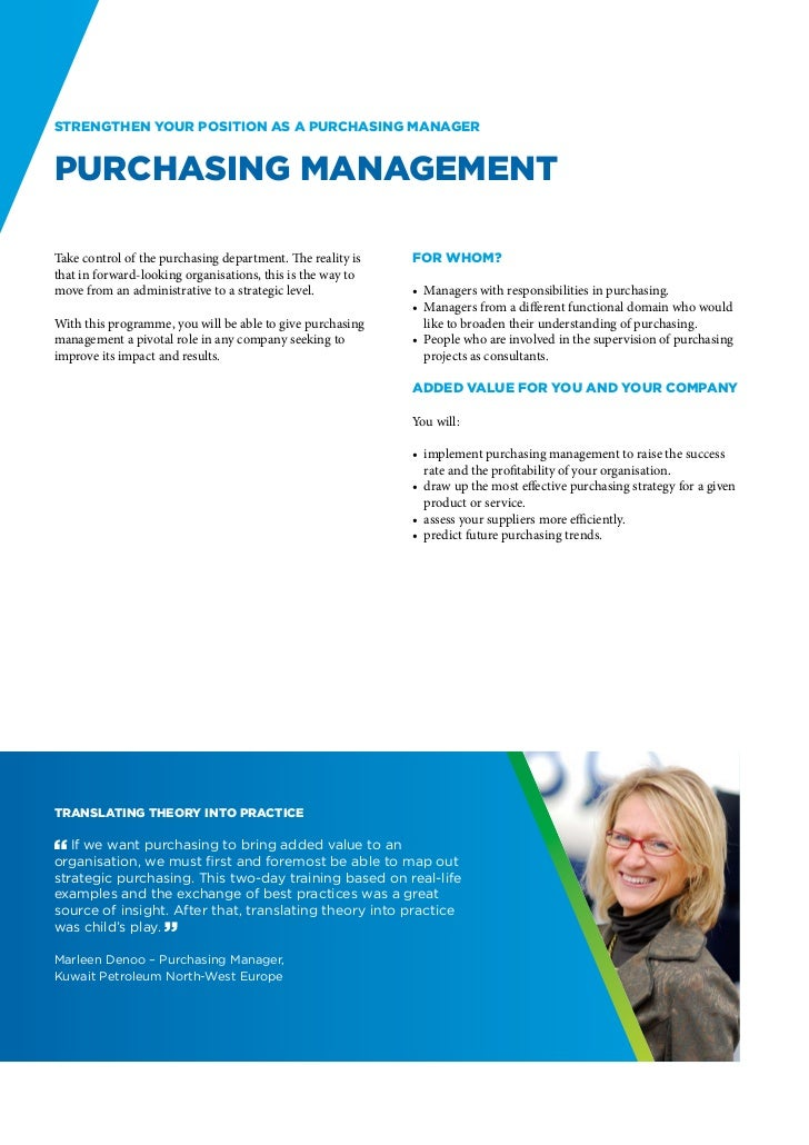 Strengthen your position as a Purchasing ManagerPurchasing ManagementTake control of the purchasing department. The realit...
