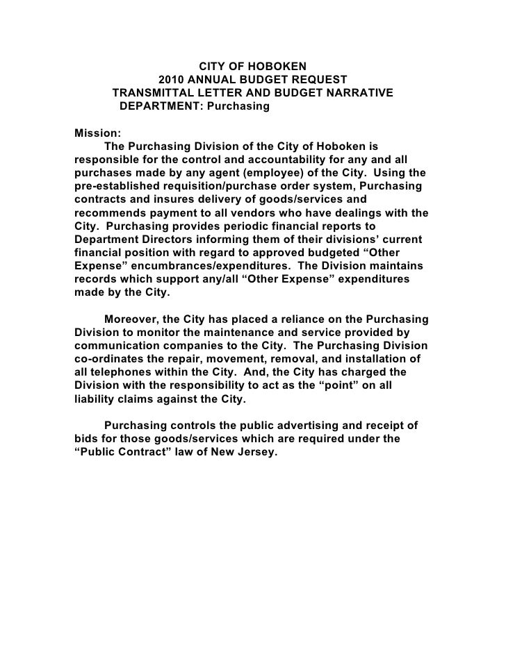 CITY OF HOBOKEN             2010 ANNUAL BUDGET REQUEST       TRANSMITTAL LETTER AND BUDGET NARRATIVE        DEPARTMENT: Pu...