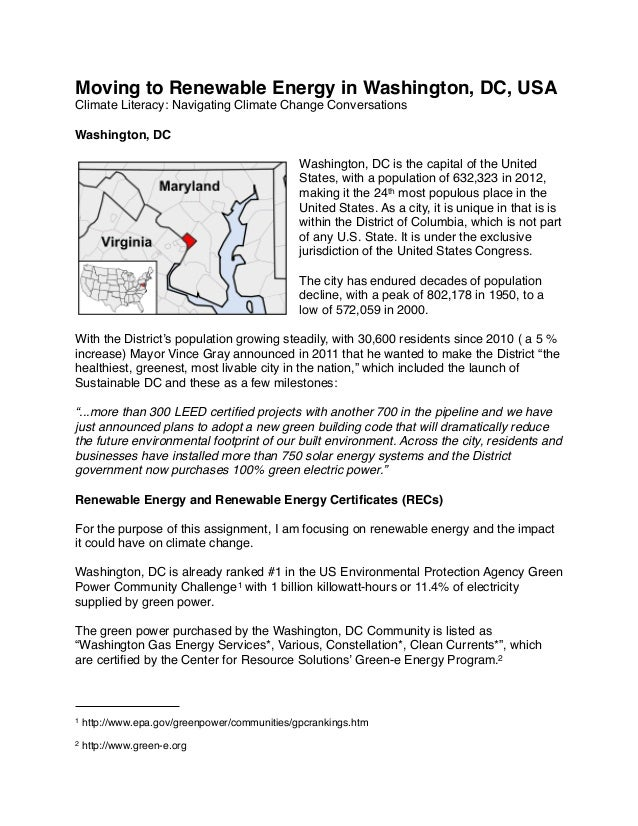 Moving to Renewable Energy in Washington, DC, USA Climate Literacy: Navigating Climate Change Conversations Washington, DC...