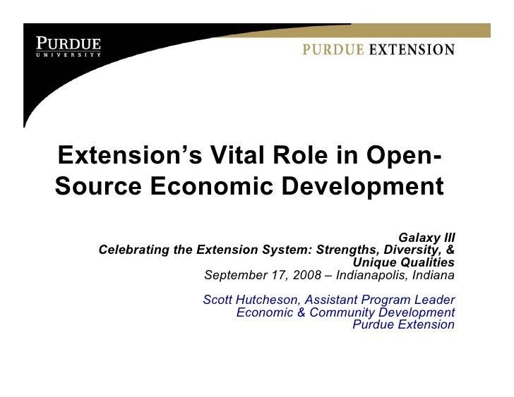 Extension's Vital Role in Open- Source Economic Development                                                     Galaxy III...