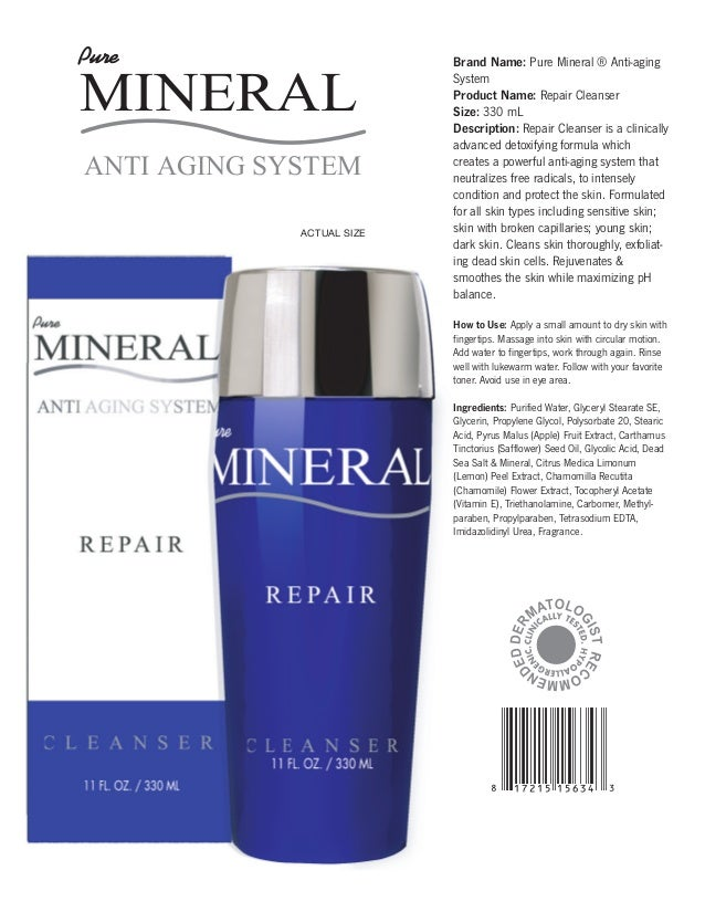 MD1178.pdf  5/28/09  5:27:36 PM  Pure  MINERAL ANTI AGING SYSTEM ACTUAL SIZE  Brand Name: Pure Mineral ® Anti-aging System...