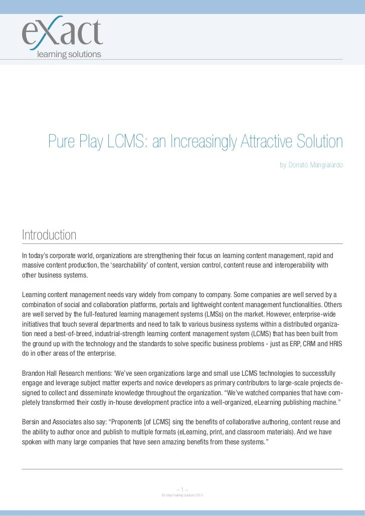 Pure Play LCMS: an Increasingly Attractive Solution                                                                       ...