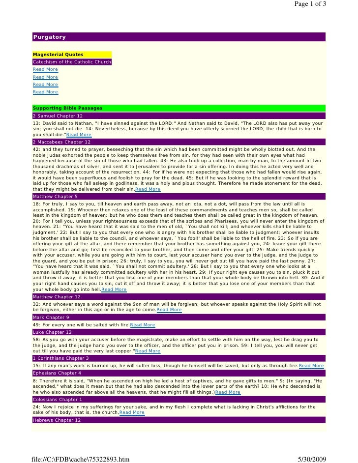Page 1 of 3    Purgatory  Magesterial Quotes Catechism of the Catholic Church Read More Read More Read More Read More   Su...