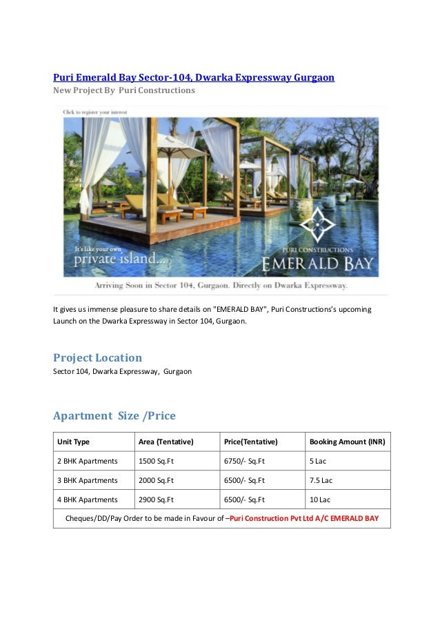 Puri Emerald Bay - New Project Sector 104 Dwarka Expressway Gurgaon - 9999062200