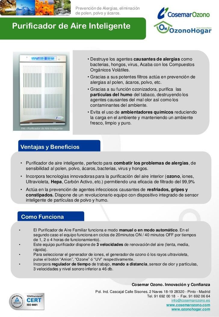 Prevención de Alergias, eliminación                                 de polen, polvo y ácaros.Purificador de Aire Inteligen...